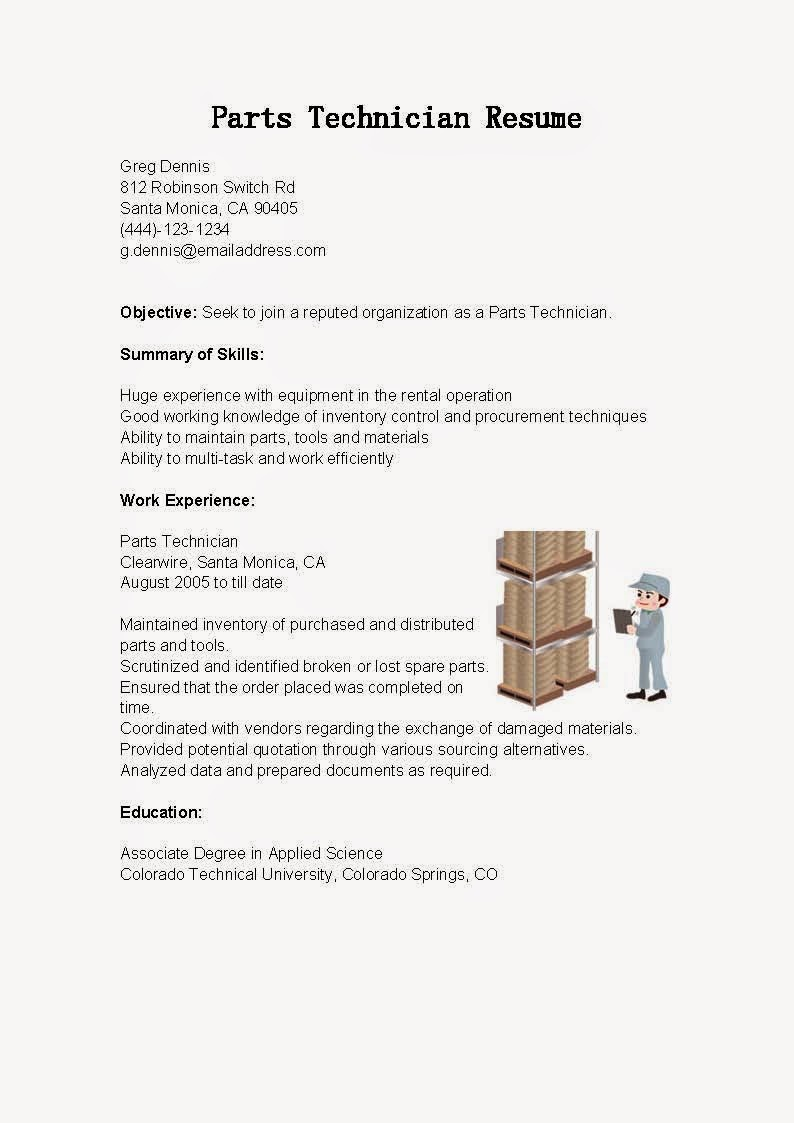 resume samples  parts technician resume sample