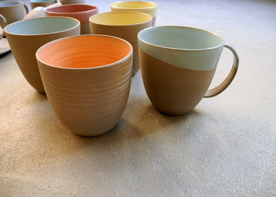 grey stoneware XXL mugs without ears