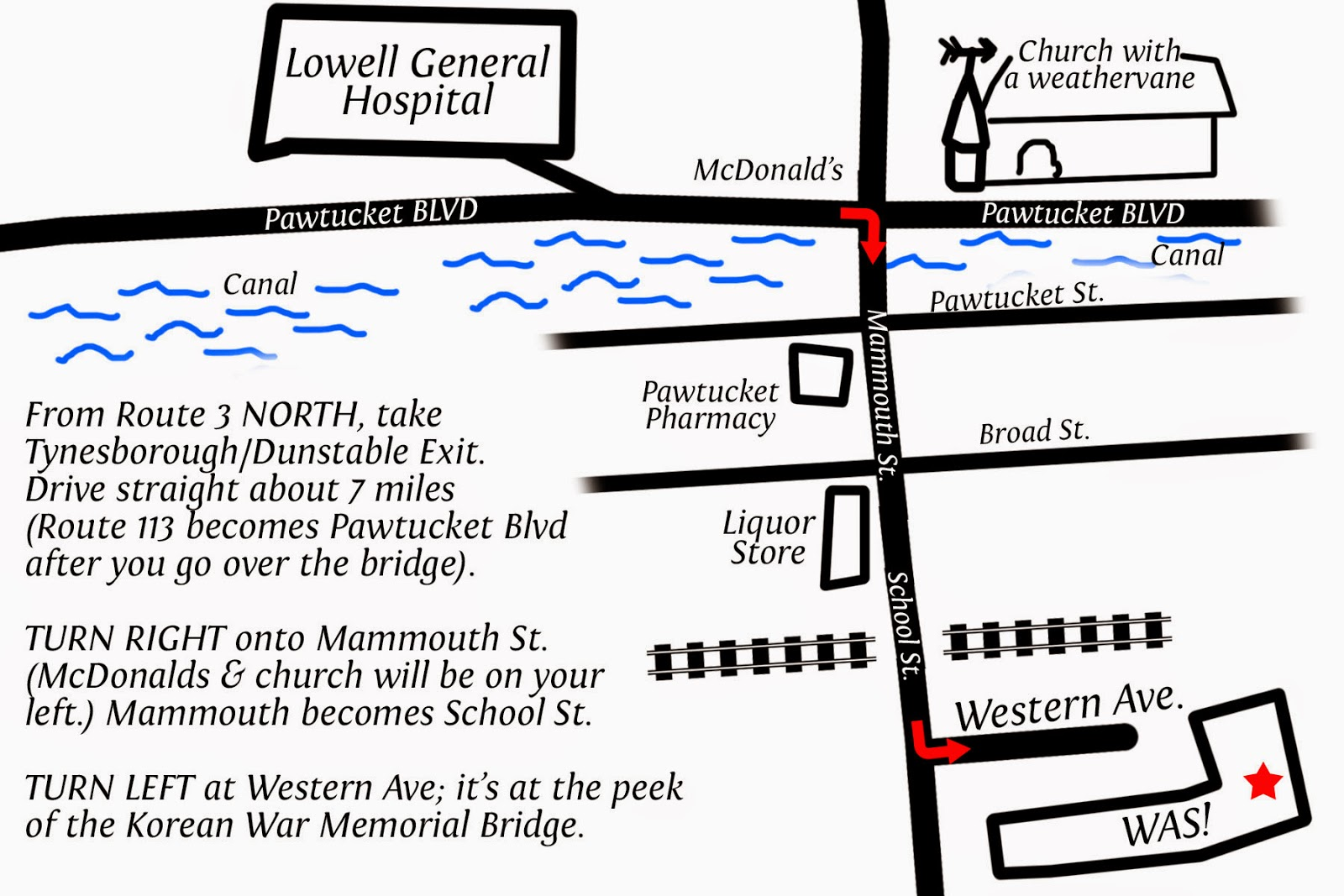Click to enlarge map. Simple directions to WAS from Nashua. Crappily doodled by Samantha Grenier © 2014