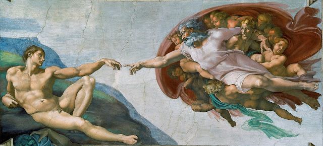 The 'Creation of Adam' from the central panel of Michelangelo's Sistine Ceiling. Photo: WikiMedia.org.