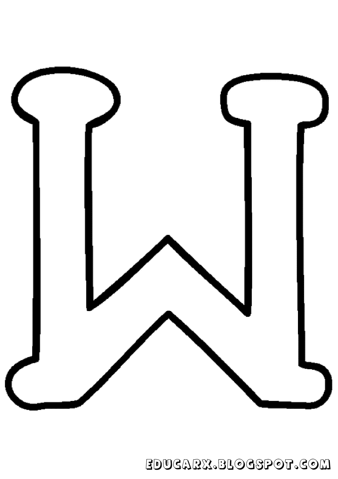 Molde da letra maiúscula W