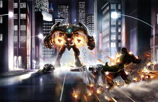 Hulk versus mech por KEGO44