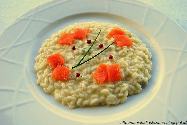 risotto con patate, gorgonzola e salmone