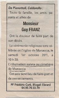 Décès Franz Guy