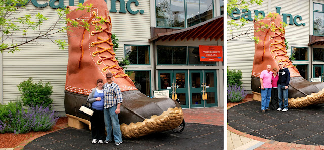 Two photos taken in front of the giant boot outside the LLBean store in Freeport, Maine. One photo has Megan and B standing in front of the boot; the other has Dad, Mom, and Shane standing in front of the boot.