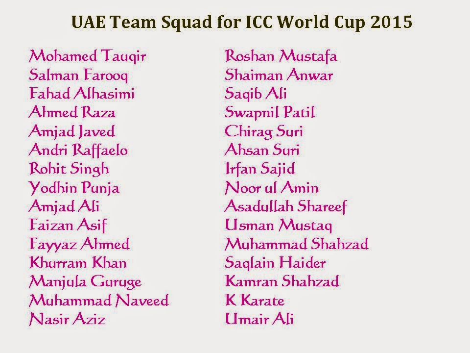 UAE Team Squad for ICC World Cup 2015, picture, image, photos