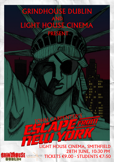 escape from new york poster. statue of liberty with eye patch