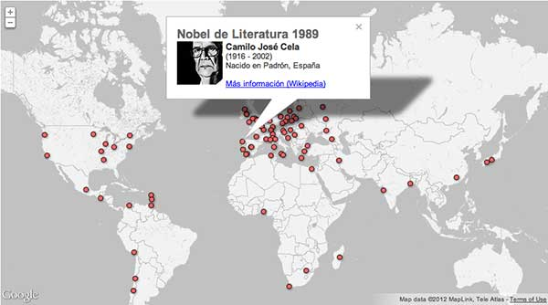 Mapa Premios Nobel de Literatura