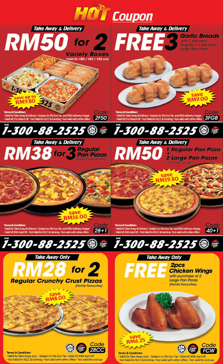 Pizza Hut Malaysia is offering FREE discount coupons and promo deal for save up to RM when your order for delivery or take away with online ordering! Promotion Period: Limited time deals. Venue: All Pizza Hut restaurants in Malaysia.