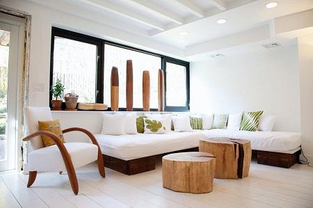Mesas recicladas muebles de troncos - Muebles de playa ...