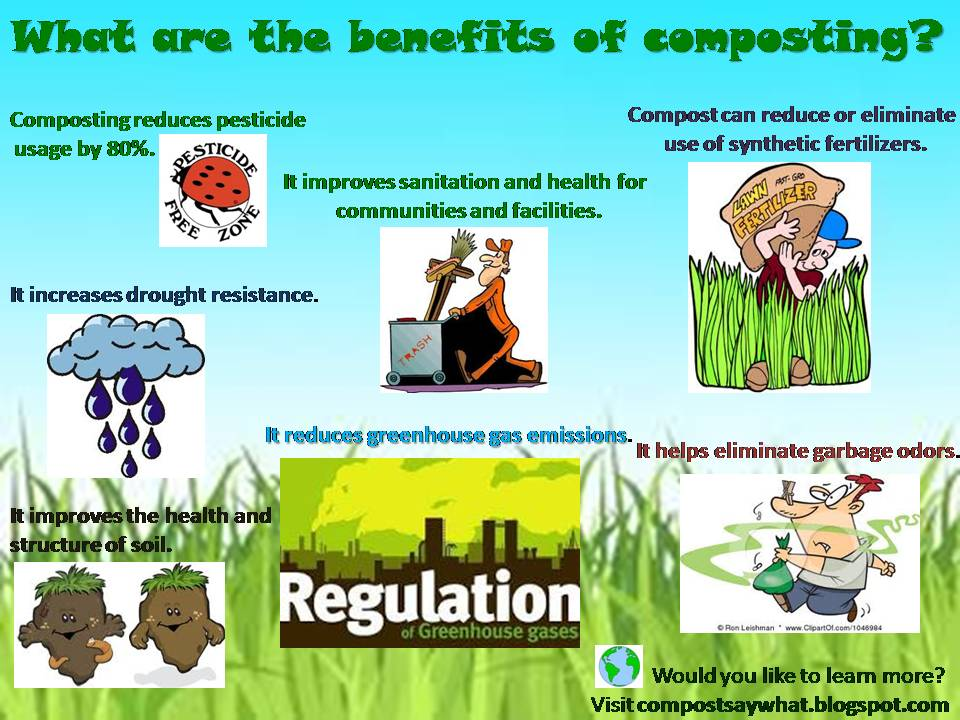compost benefits Composting benefits soil conditioner with compost, you are creating rich humus for your lawn and garden this adds nutrients to your plants and helps retain soil moisture.