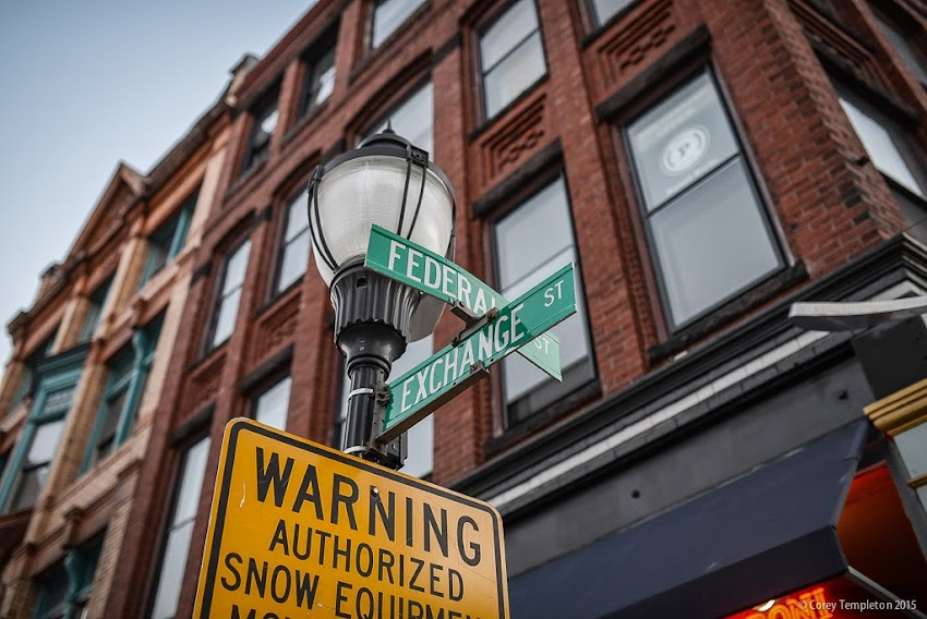 Portland, Maine March 2015 Corner of Federal and Exchange Streets in the Old Port photo by Corey Templeton
