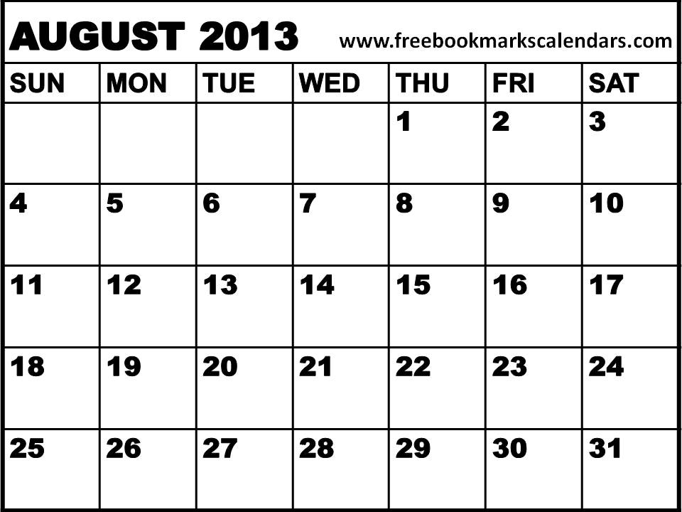 Printable Calendars 2015: Blank Calendar 2013 August / Planner 2013 ...