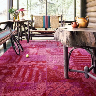 Rustic porch with FLOR rug tiles
