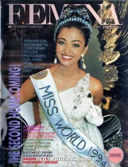 Aishwariya rai on cover of Femina india magazine - Aishwariya rai 1994 Femina Cover Page miss world pageant