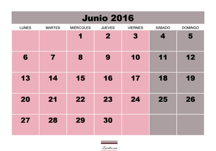 Calendario 2016 gratis mes por página, números negros