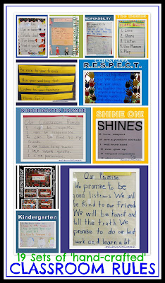 photo of: Classroom Rules created in Preschool, Kindergarten and first grade: many handwritten