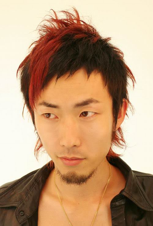 Asian red mohawk hairstyle.