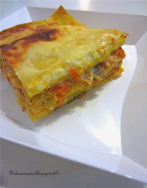 lasagnetta al ragu' di zucca, funghi e castagne fatta a