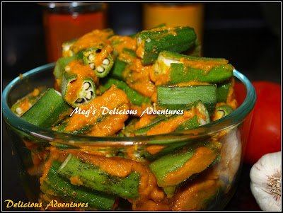 Ladyfingers / Okra stuffed with the Spice paste