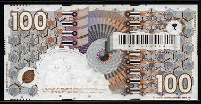 Netherlands paper money Dutch guilder banknotes 100 Gulden banknote