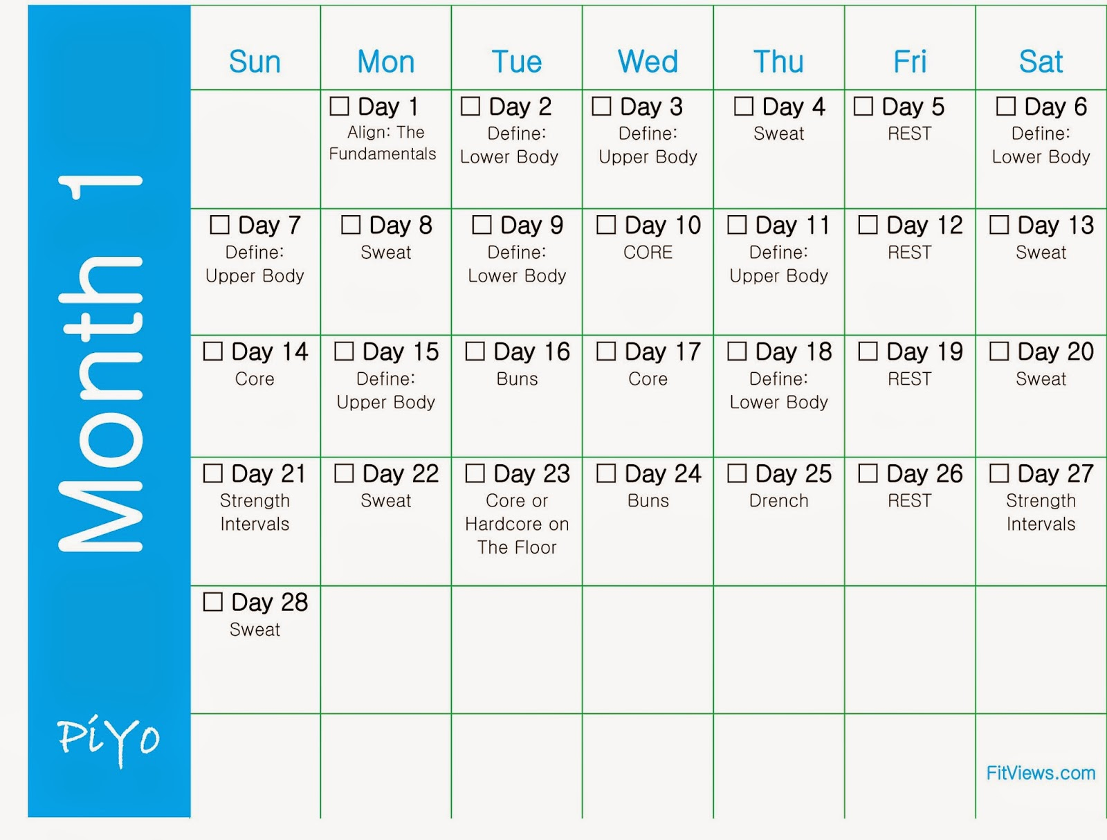 Ilates Monthly Calendar Results : Piyo workout calendar and schedule to download or print