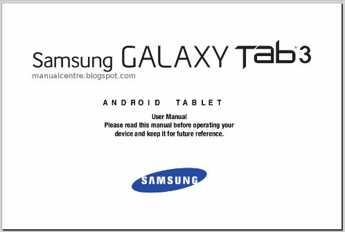 Samsung Galaxy Tab 3 10.1 Manual Cover