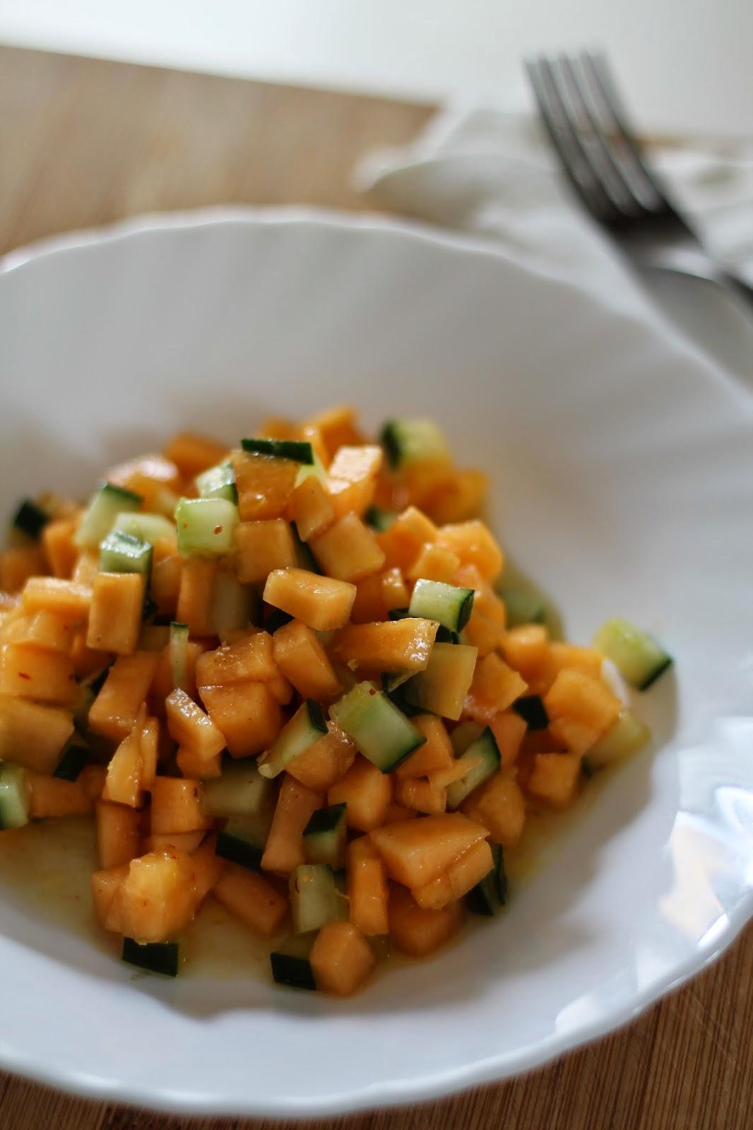insalata fresca di melone e cetriolo