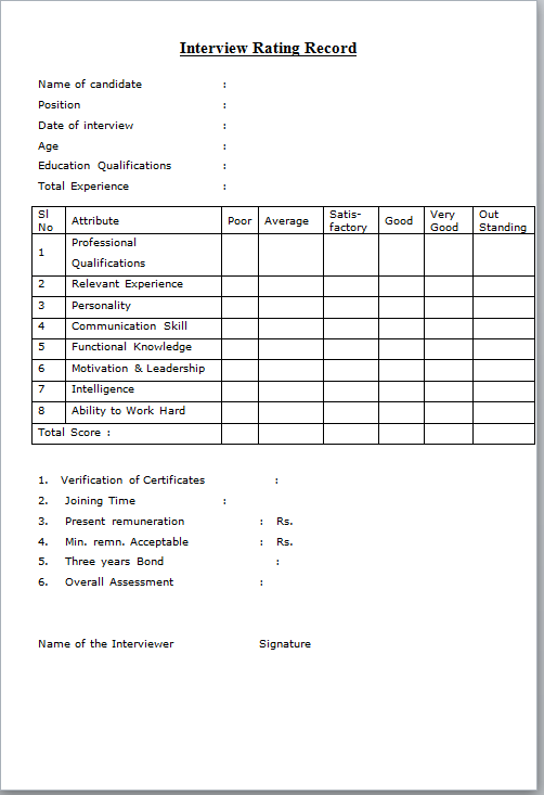 interview score sheet format