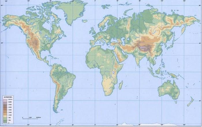 Planisferi Físic. Planisferio Físico blanco