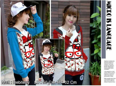 Baju Big Size Jaket Hello Kitty Glasses Hoodie - 10451