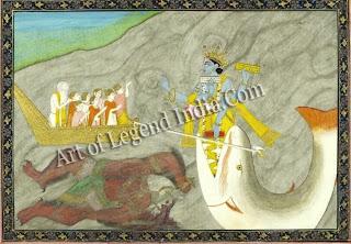 Matsya: Vishnu's fish incarnation; South Indian bronze