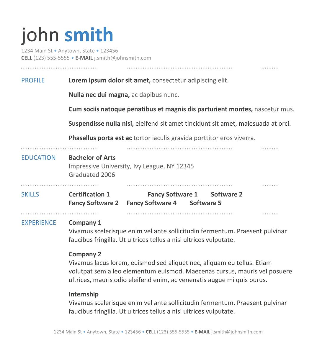 professional resume template for freshers - Best Professional Resume Samples