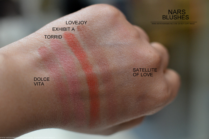NARS Blush Dolce Vita Torrid Exhibit A Lovejoy Sattelite of Love Swatches