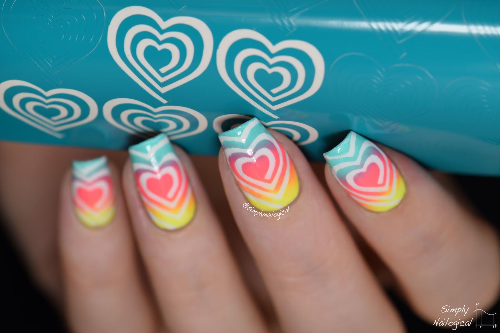 Simply Nailogical: Too-easy neon heart swirl gradient nails