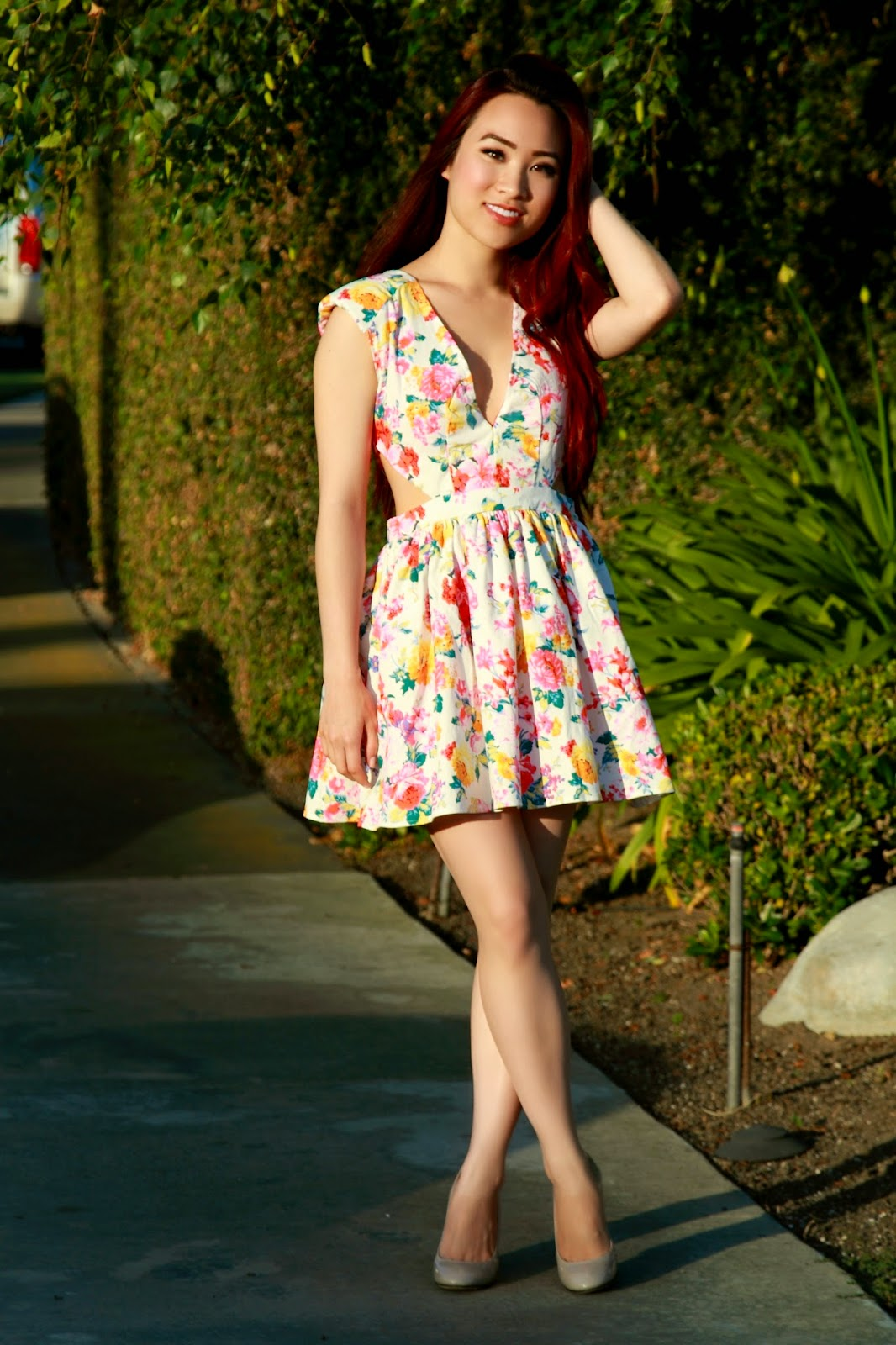 Lulus Floral Cutout Dress