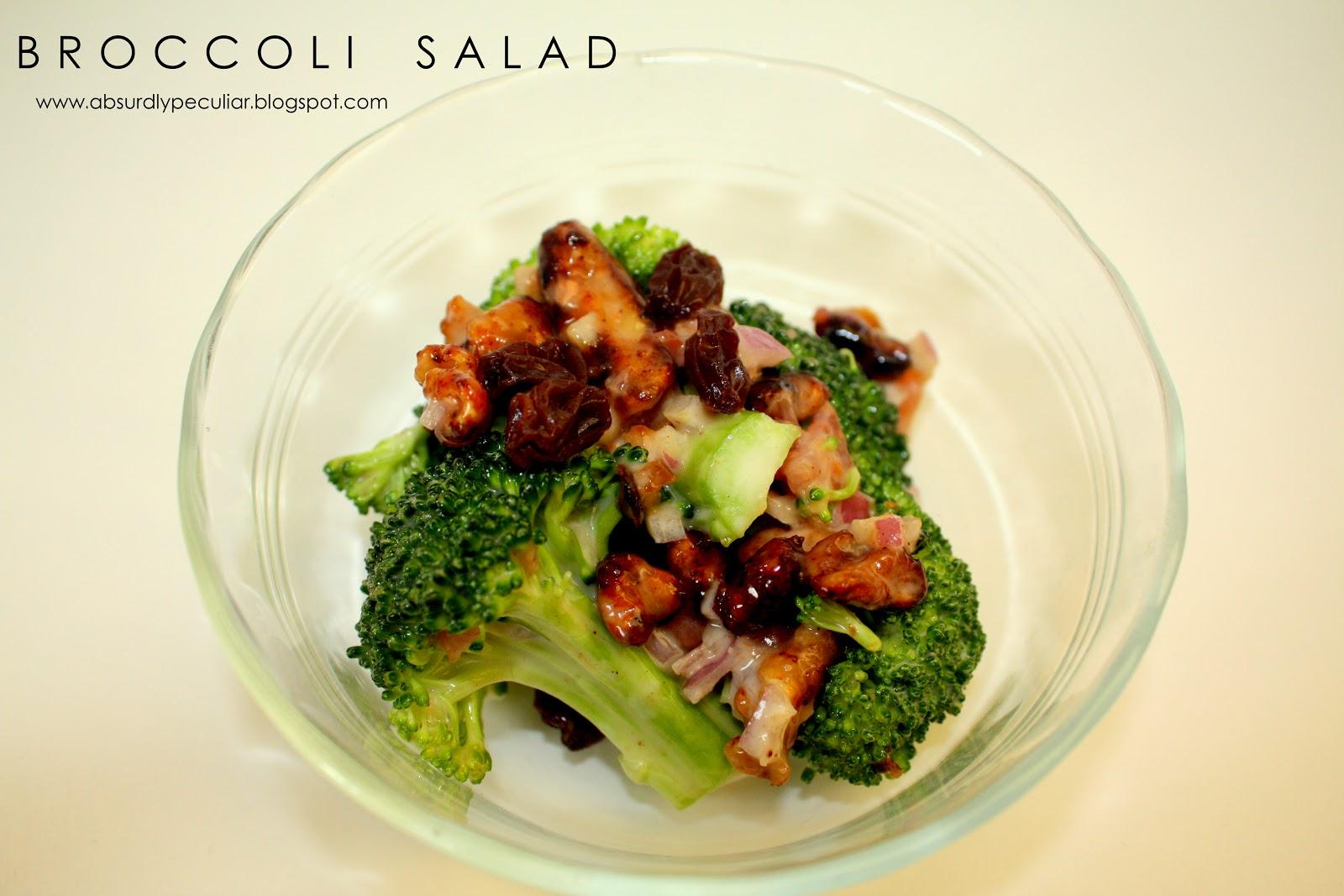 broccoli, broccoli salad, salad, recipe, raisins, onions, bacon, candied walnuts