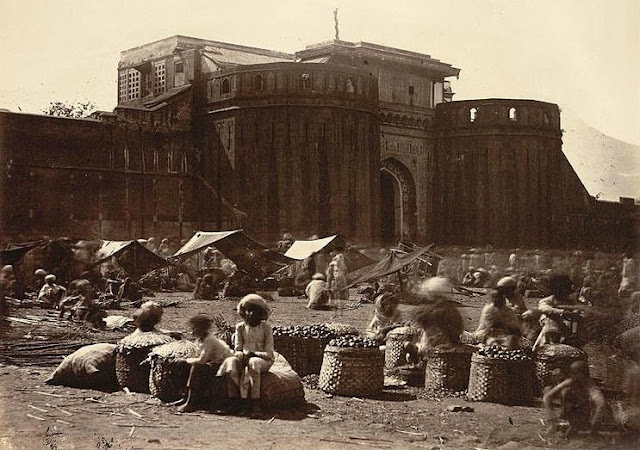 The imposing walls of the Shaniwarwada Fort in a rare 1860 photograph