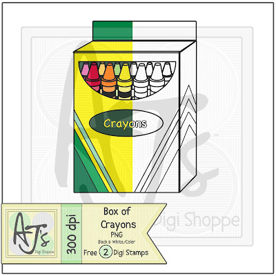 Box of crayons digital stamp