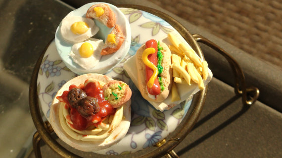 Three Dinners Miniature Dollhouse Food