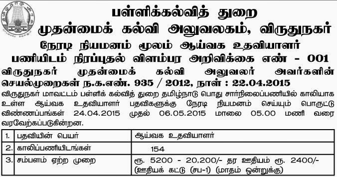 Virudhunagar Govt School Lab Assistant Recruitments (www.tngovernmentjobs.in)