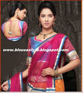 double border half saree blouse