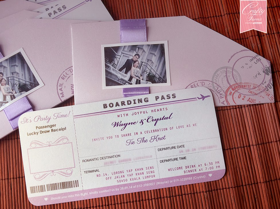 Pastel Purple Boarding Pass Wedding Invitation Card Secret Garden Lifestyle Kuala Lumpur