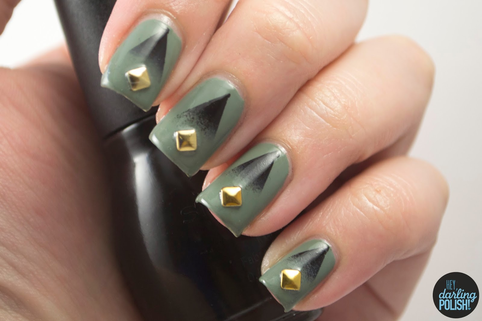 nails, nail art, nail polish, indie, indie polish, indie nail polish, boutique, hey darling polish, green, black, cult nails, gradients, studs