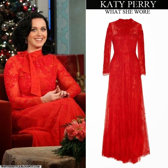 WHAT SHE WORE: Katy Perry in red lace embellished long sleeve dress ...