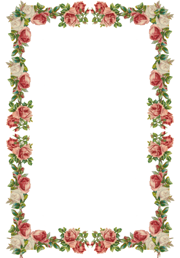 Free digital vintage rose frame and border png for How to make vintage frames