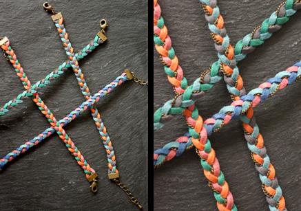 bracelets tressés en suédine