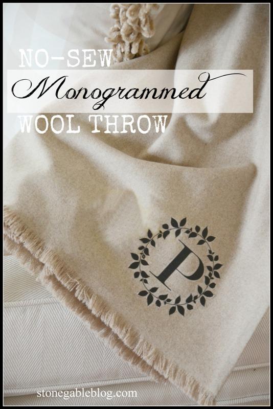 no-sew monogrammed wool throw diy