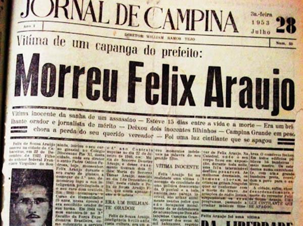 Câmara Municipal de Campina Grande promove sessão marcando os 60 anos de morte de Felix Araújo