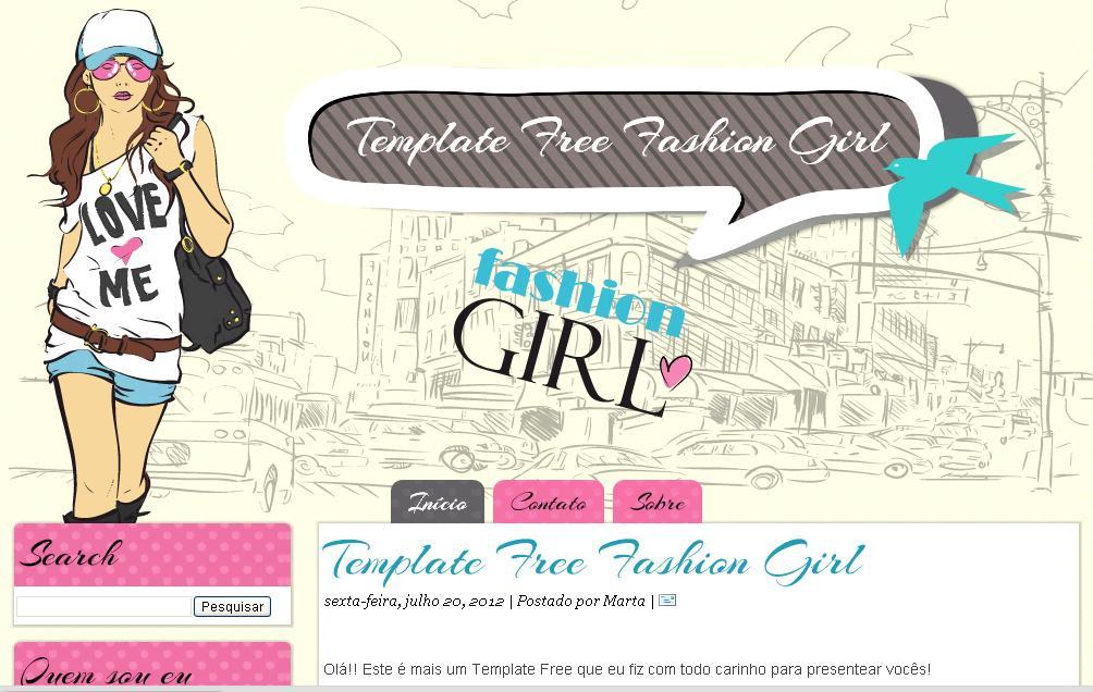 Preferência Templates para blogs Femininos grátis: Free Fashion Girl - Xml  UR77